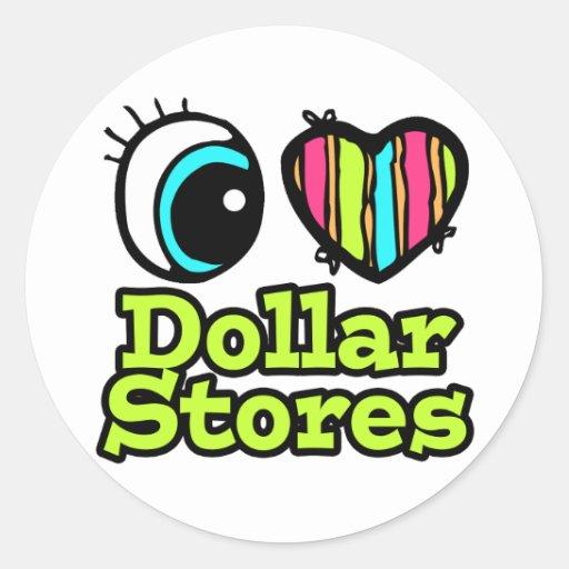 Bright Eye Heart I Love Dollar Stores Round Stickers