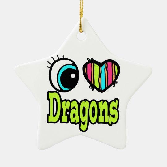 Bright Eye Heart I Love Dragons Ceramic Ornament