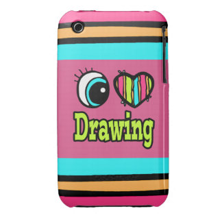 Bright Eye Heart I Love Drawing iPhone 3 Case-Mate Cases