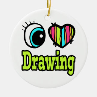 Bright Eye Heart I Love Drawing Ceramic Ornament