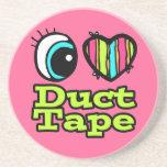 Bright Eye Heart I Love Duct Tape Coasters