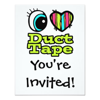Bright Eye Heart I Love Duct Tape 4.25x5.5 Paper Invitation Card