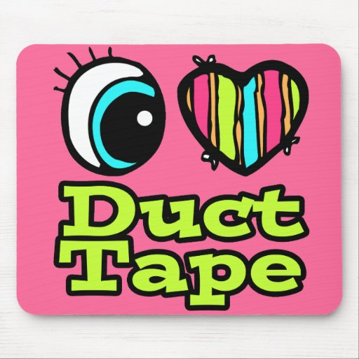 Bright Eye Heart I Love Duct Tape Mouse Pad