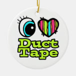 Bright Eye Heart I Love Duct Tape Double-Sided Ceramic Round Christmas Ornament