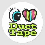 Bright Eye Heart I Love Duct Tape Round Stickers