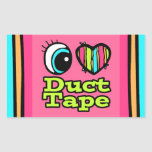 Bright Eye Heart I Love Duct Tape Rectangle Stickers