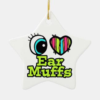 Bright Eye Heart I Love Ear Muffs Double-Sided Star Ceramic Christmas Ornament