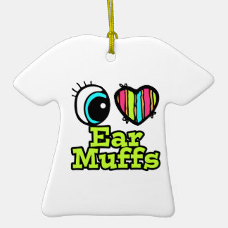 Bright Eye Heart I Love Ear Muffs Double-Sided T-Shirt Ceramic Christmas Ornament