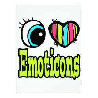 Bright Eye Heart I Love Emoticons 6.5x8.75 Paper Invitation Card