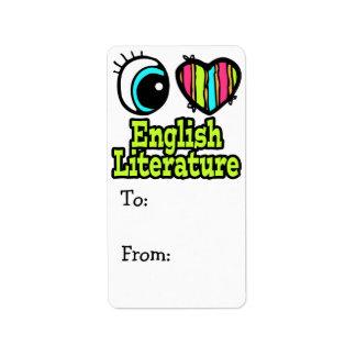 Bright Eye Heart I Love English Literature Custom Address Label