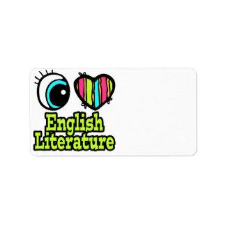 Bright Eye Heart I Love English Literature Custom Address Labels