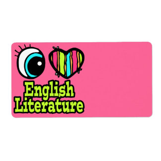 Bright Eye Heart I Love English Literature Personalized Shipping Label