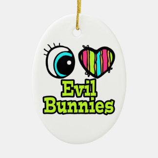 Bright Eye Heart I Love Evil Bunnies Double-Sided Oval Ceramic Christmas Ornament