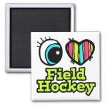 Bright Eye Heart I Love Field Hockey 2 Inch Square Magnet
