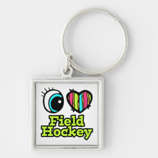 Bright Eye Heart I Love Field Hockey Silver-Colored Square Keychain