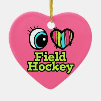 Bright Eye Heart I Love Field Hockey Christmas Ornament