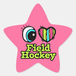 Bright Eye Heart I Love Field Hockey Stickers