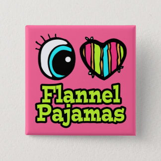 Bright Eye Heart I Love Flannel Pajamas Button