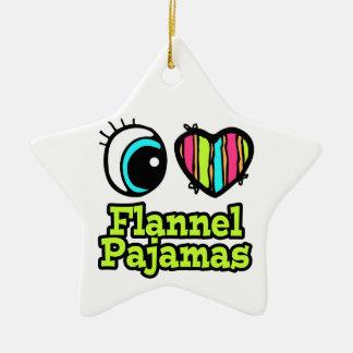 Bright Eye Heart I Love Flannel Pajamas Double-Sided Star Ceramic Christmas Ornament