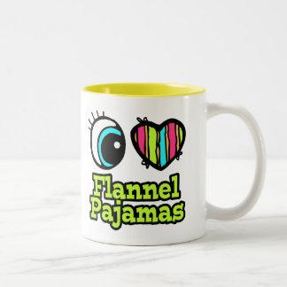 Bright Eye Heart I Love Flannel Pajamas Two-Tone Coffee Mug