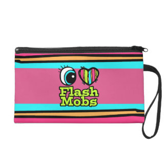 Bright Eye Heart I Love Flash Mobs Wristlet