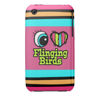 Bright Eye Heart I Love Flinging Birds iPhone 3 Case-Mate Cases