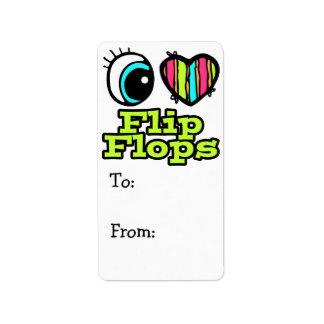 Bright Eye Heart I Love Flip Flops Custom Address Labels