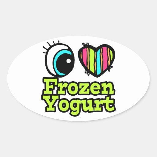 Bright Eye Heart I Love Frozen Yogurt Oval Sticker