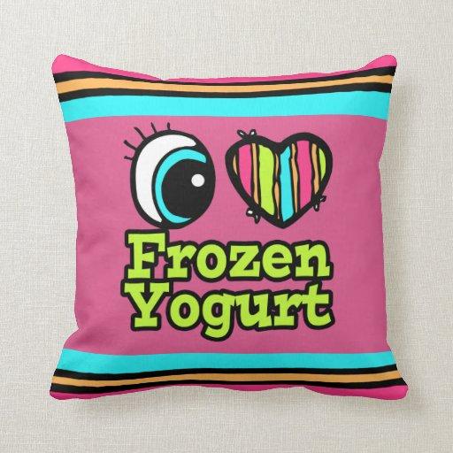Bright Eye Heart I Love Frozen Yogurt Throw Pillows