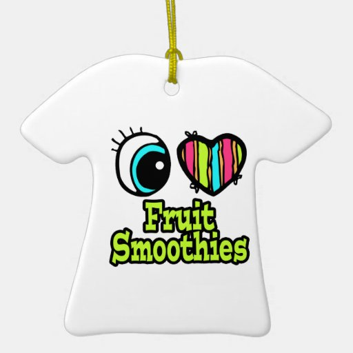 Bright Eye Heart I Love Fruit Smoothies Ceramic Ornament