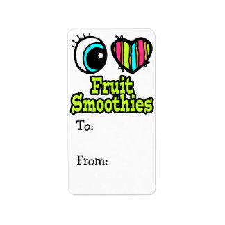Bright Eye Heart I Love Fruit Smoothies Personalized Address Label