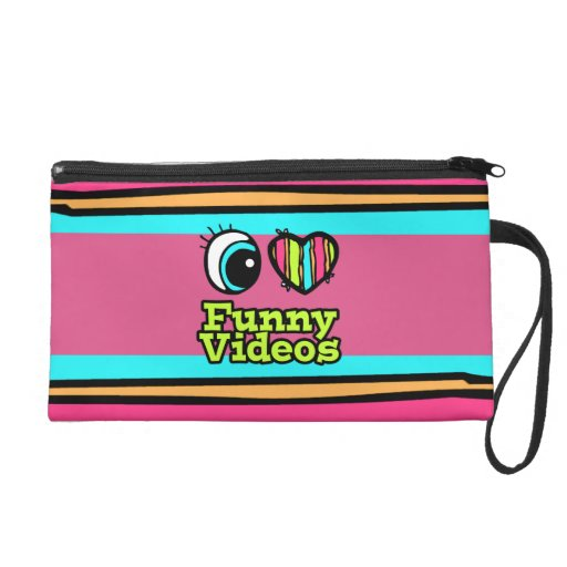 Bright Eye Heart I Love Funny Videos Wristlet Purse