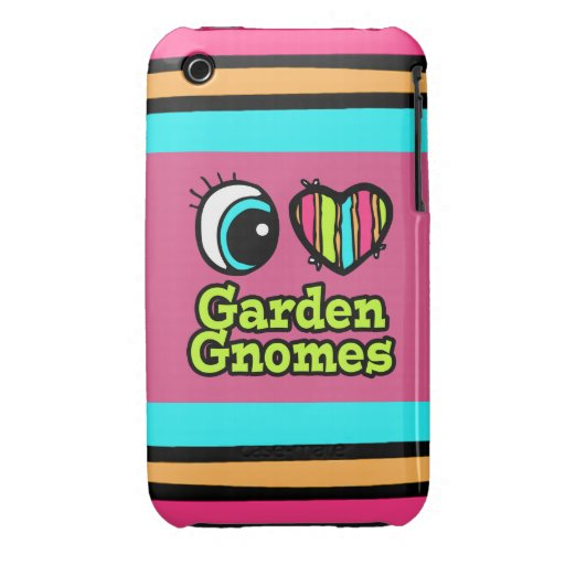 Bright Eye Heart I Love Garden Gnomes iPhone 3 Case-Mate Cases
