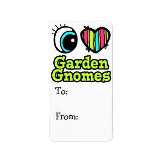 Bright Eye Heart I Love Garden Gnomes Custom Address Label