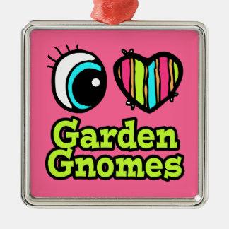 Bright Eye Heart I Love Garden Gnomes Square Metal Christmas Ornament