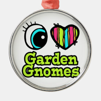 Bright Eye Heart I Love Garden Gnomes Round Metal Christmas Ornament