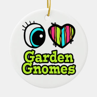Bright Eye Heart I Love Garden Gnomes Double-Sided Ceramic Round Christmas Ornament