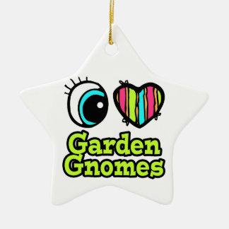 Bright Eye Heart I Love Garden Gnomes Double-Sided Star Ceramic Christmas Ornament