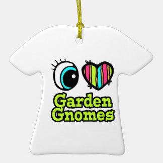 Bright Eye Heart I Love Garden Gnomes Double-Sided T-Shirt Ceramic Christmas Ornament