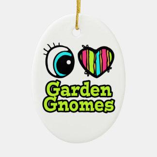 Bright Eye Heart I Love Garden Gnomes Double-Sided Oval Ceramic Christmas Ornament