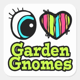 Bright Eye Heart I Love Garden Gnomes Square Stickers