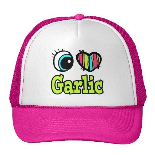 Bright Eye Heart I Love Garlic Mesh Hats