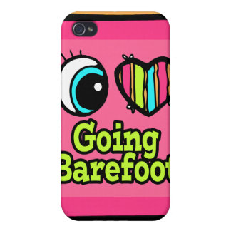 Bright Eye Heart I Love Going Barefoot Case For iPhone 4