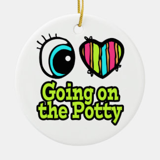 Bright Eye Heart I Love Going on the Potty Double-Sided Ceramic Round Christmas Ornament