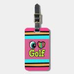 Bright Eye Heart I Love Golf Travel Bag Tag