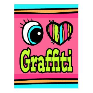 Bright Eye Heart I Love Graffiti Postcard