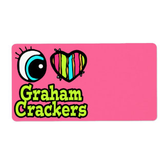 Bright Eye Heart I Love Graham Crackers Shipping Label