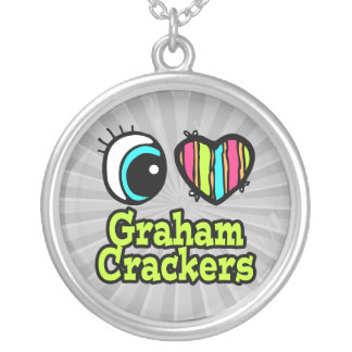 Bright Eye Heart I Love Graham Crackers Round Pendant Necklace