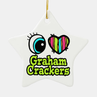 Bright Eye Heart I Love Graham Crackers Double-Sided Star Ceramic Christmas Ornament