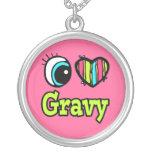 Bright Eye Heart I Love Gravy Round Pendant Necklace